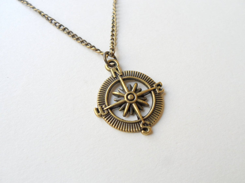 Bronze Open Metal Compass Necklace - I'd Be Lost Without You