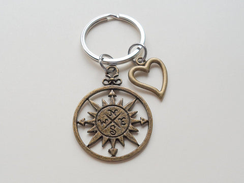 Bronze Sun Compass Keychain with Heart Charm - I'd Be Lost Without You; Couples Keychain
