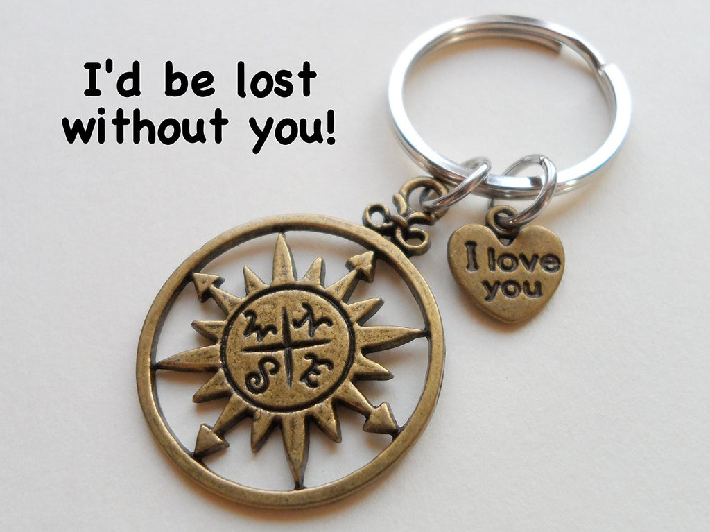 "Bronze Sun Compass Keychain with ""I Love You"" Heart Charm - I'd Be Lost Without You; Couples Keychain"