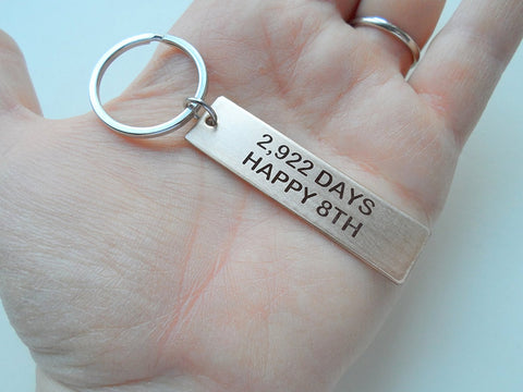 "Bronze Tag Keychain Engraved with ""2,922 Days, Happy 8th""; Handmade 8 Year Anniversary Couples Keychain, Personalized Option"