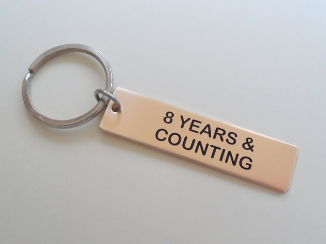 "8 Year Anniversary Gift • Bronze Tag Keychain Engraved w/ ""8 Years & Counting"" by Jewelry Everyday"
