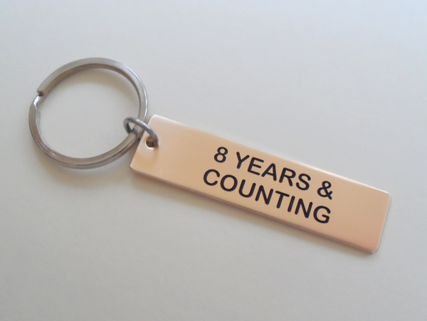 8 Year Anniversary Gift | Bronze Keychain Engraved w/ 8 Years ...