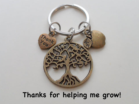 "Teacher Appreciation Gifts • ""Thank You"" Tag, Bronze Tree Charm, & Apple Charm Keychain by JewelryEveryday w/ ""Thanks for helping me to grow!"" Card"