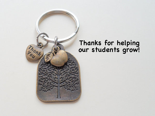 "Teacher Appreciation Gifts • ""Thank You"" Tag, Bronze Tree, & Apple Keychain by JewelryEveryday w/ ""Thanks for helping our students grow!"" Card"