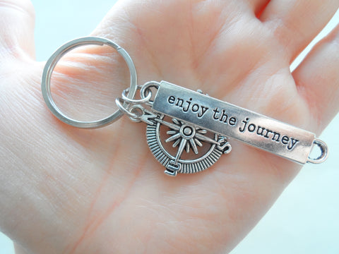 Enjoy The Journey Compass Keychain - Graduation Gift Keychain, Encouragement Gift Keychain