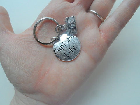 Capture Life Disc Charm with Camera Charm Keychain - Encouragement Gift