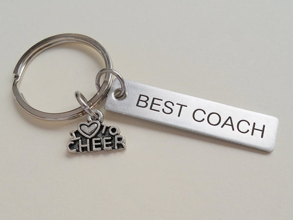 "Cheer Coach Appreciation Gift - Engraved ""Best Coach"" Keychain"