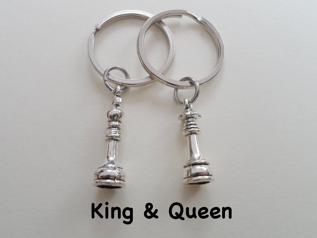 Chess Piece Charm Keychains, King and Queen Set - Couples Keychain Set