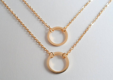Circle Necklaces, Set of 2, Like a Circle Our Love Will Never End - Gold