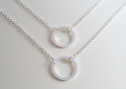 Circle Necklaces, Set of 2, Like a Circle Our Love Will Never End - Silver