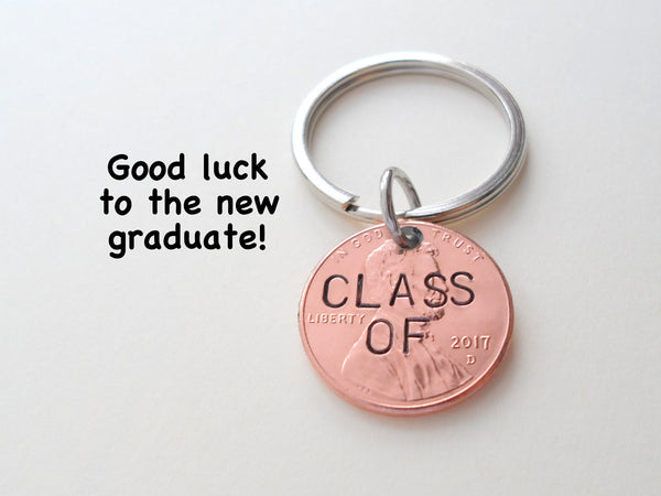 """Class Of"" 2020 Penny Engraved Keychain - Good Luck to You; 2020 Graduation Gift"