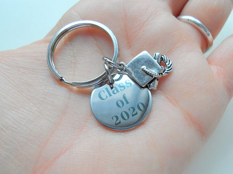 Class of 2020 Keychain with Graduation Cap Charm, Graduation Gift Keychain for Graduate