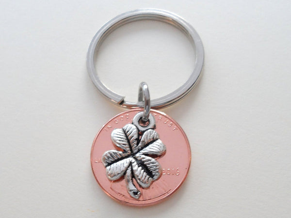 Clover Charm Layered Over 2016 Penny Keychain, 4 Year Anniversary Gift, Couples Keychain