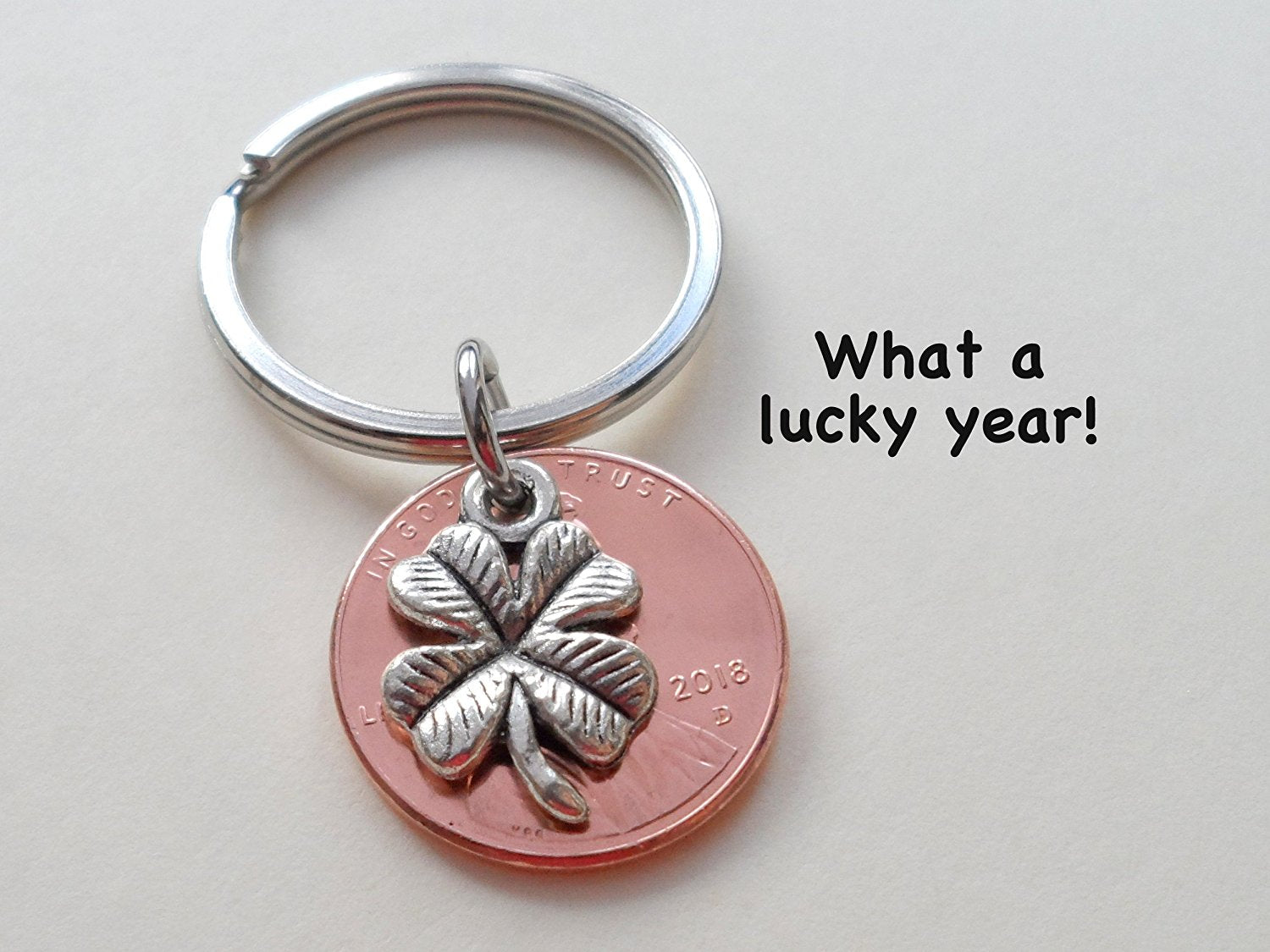 Clover Charm Layered Over 2018 Us One Cent Penny Keychain