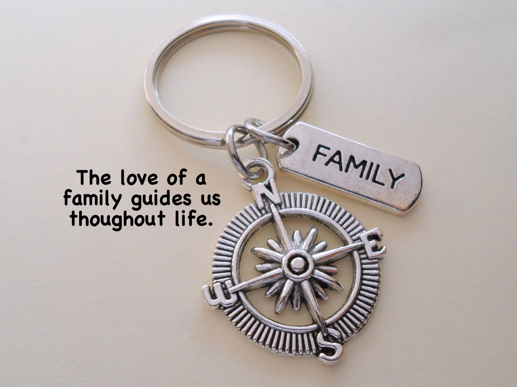 Compass & Family Charm Keychain, Family Gift, Family Reunion Gift