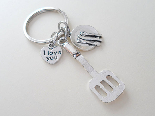 Cooking Keychain Gift, Cooking Utensil Charms - My Mom is the Best Cook