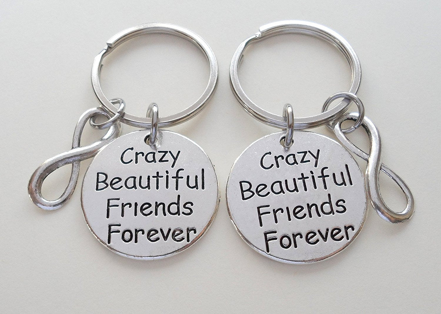 Crazy Beautiful Friends Forever Keychains With Infinity Symbol