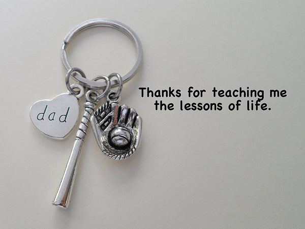 Dad Baseball Keychain, Baseball Glove & Baseball Bat charm; Father's Gift