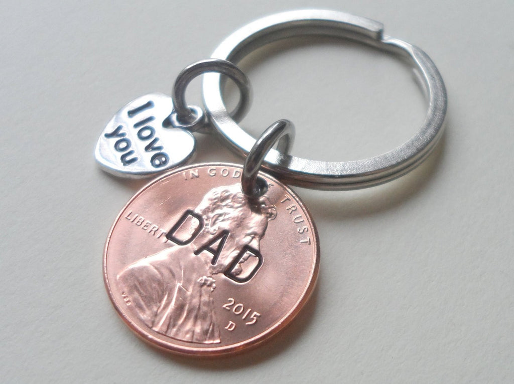 Dad Stamped on 2015 Penny Keychain, with I Love You Heart Charm, Father's Day Gift