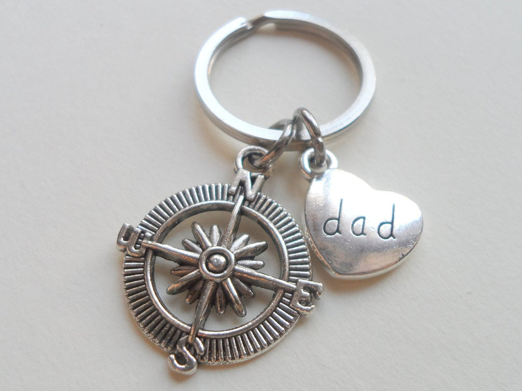 Dad's Open Metal Compass Keychain - I'd Be Lost Without You; Father's Gift Keychain