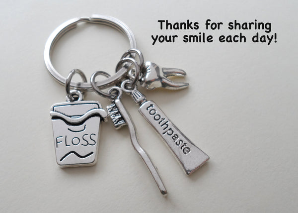 Employee Thank You Gift • Dental Assistant Keychain, Tooth, Toothbrush, Toothpaste & Floss Charms by JewelryEveryday