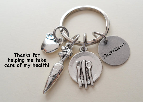 Dietitian Gift Keychain with Apple, Carrot, Plate Charm, Nutritionist Gift Keychain