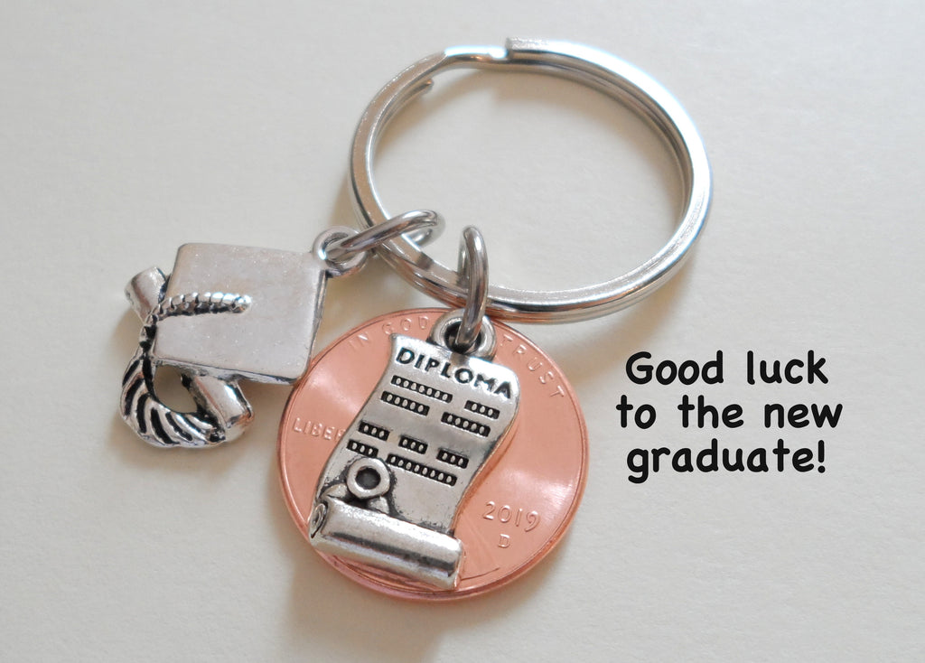 Diploma Charm Layered Over 2019 Penny Keychain - Good Luck to the New Graduate; Hand Made; Graduation Gift