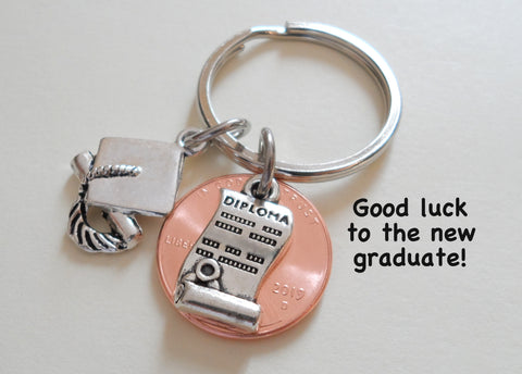 Diploma Charm Layered Over 2020 Penny Keychain - Good Luck to the New Graduate; Hand Made; Graduation Gift