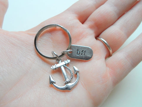 Double BFF Anchor Keychains - You're the Anchor in My Life; Best Friends Keychains