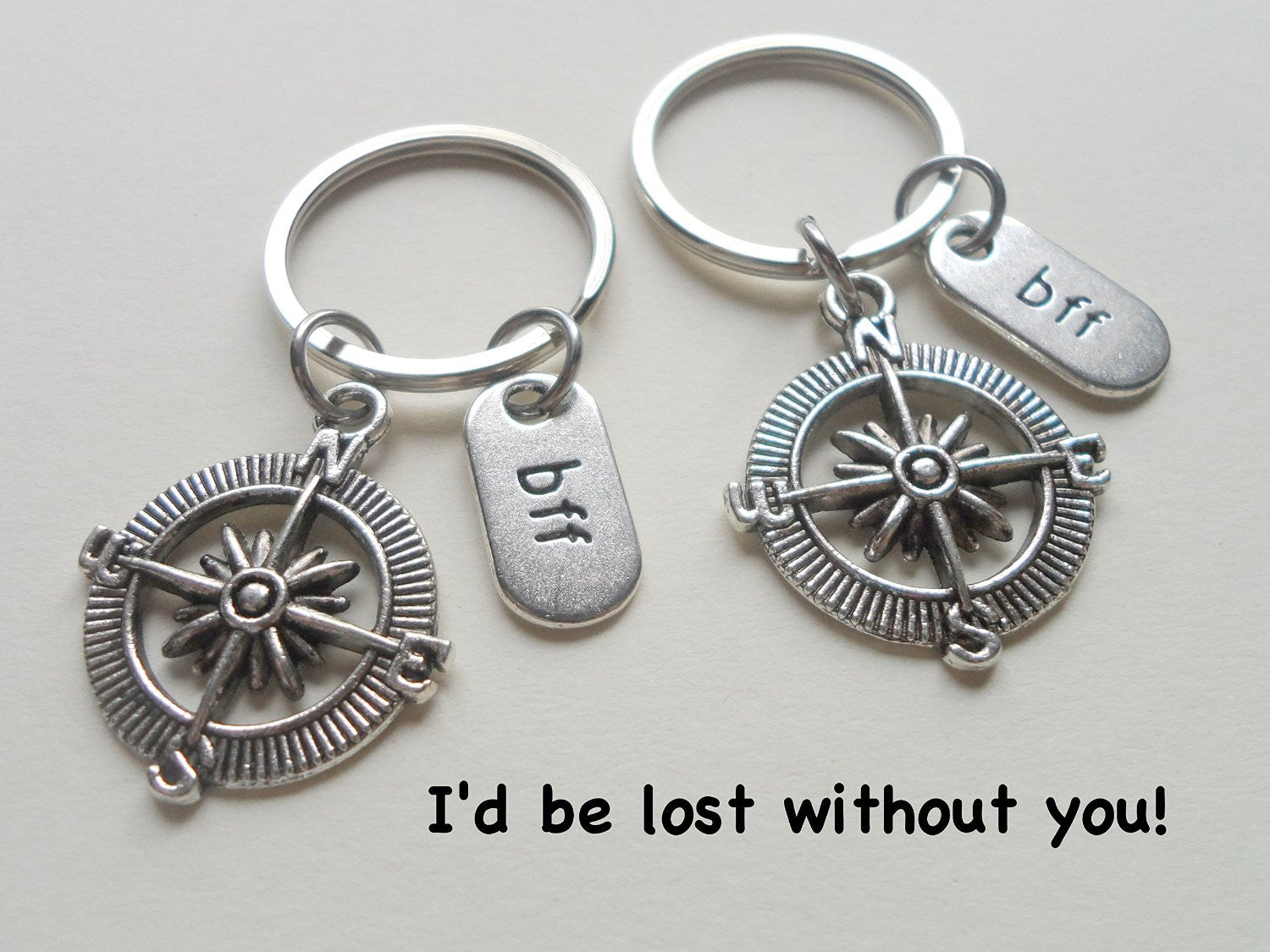 Double BFF Black /& Silver Compass Keychains Id Be Lost Without You; Best Friends Keychain Gift