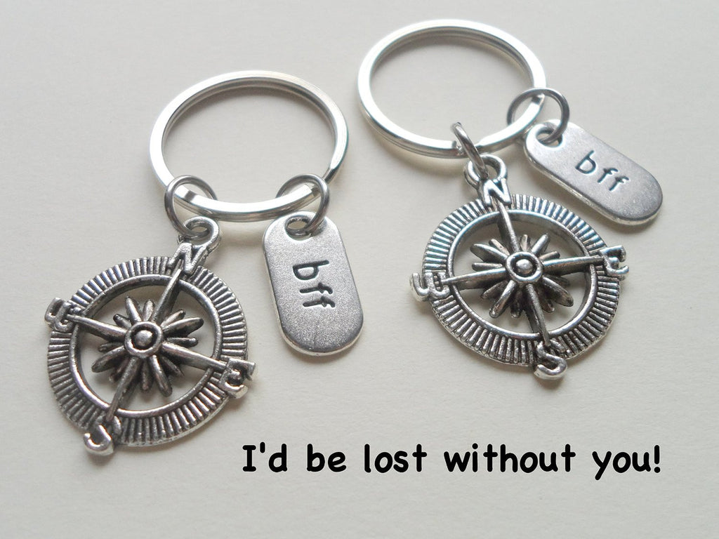 Double BFF Open Metal Compass Keychains - I'd Be Lost Without You; Best Friends Keychain Gift
