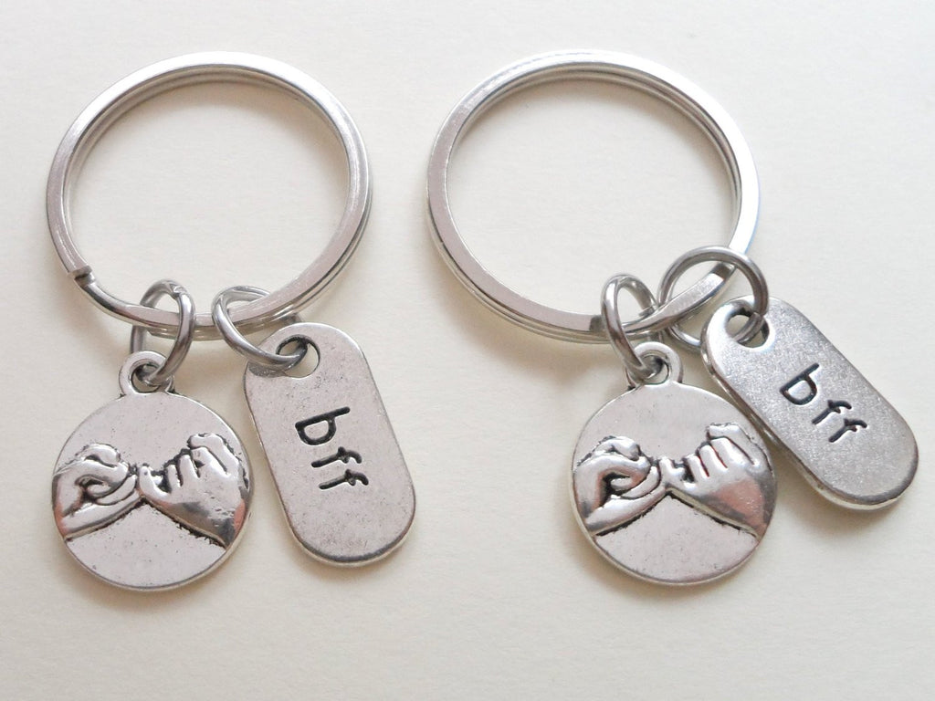 Double BFF Pinky Promise Keychains; Hand Bag Charm, Promise Gift, Best Friends Keychains