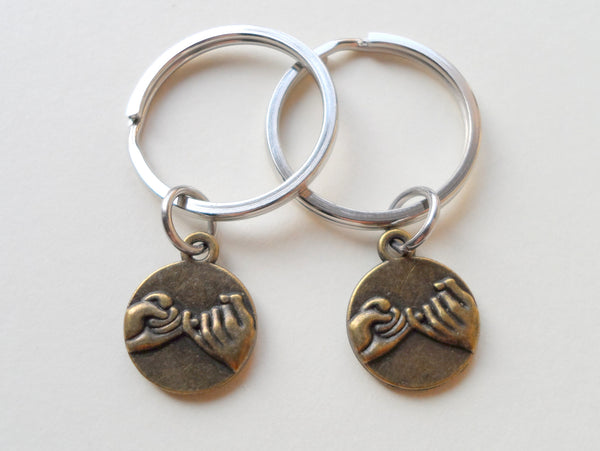 Wedding Gifts For Military Couples: Double Bronze Pinky Promise Charm Keychains
