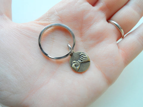 Double Bronze Pinky Promise Charm Keychains; Couple Keychains, Promise Gift