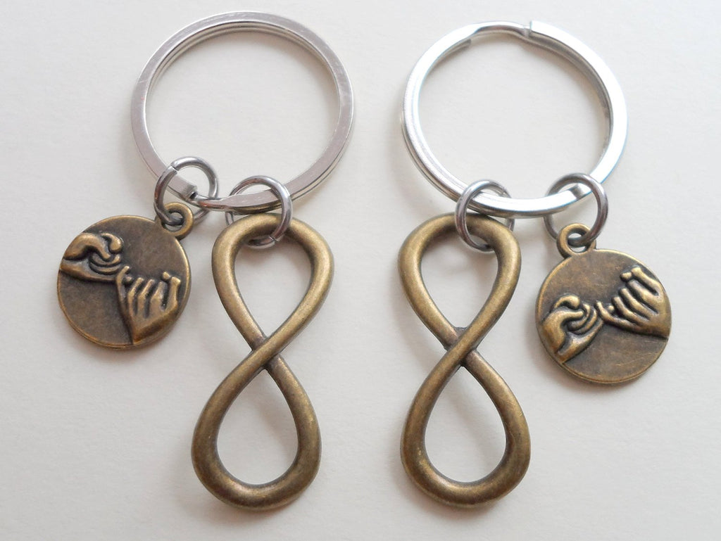 Double Bronze Pinky Promise Charm and Infinity Charm Keychains; Couple Keychains, Best Friends Keychains