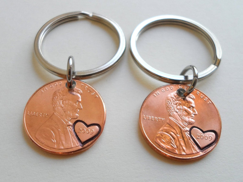 Double 2009 Penny keychain Set, 11 Year Anniversary Gift with Heart Engraved on Year.