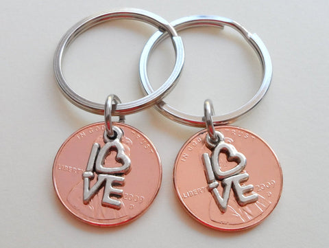 Double Keychain Set 2009 Penny Keychains with Love Charm; 10 Year Anniversary Gift, Couples Keychain