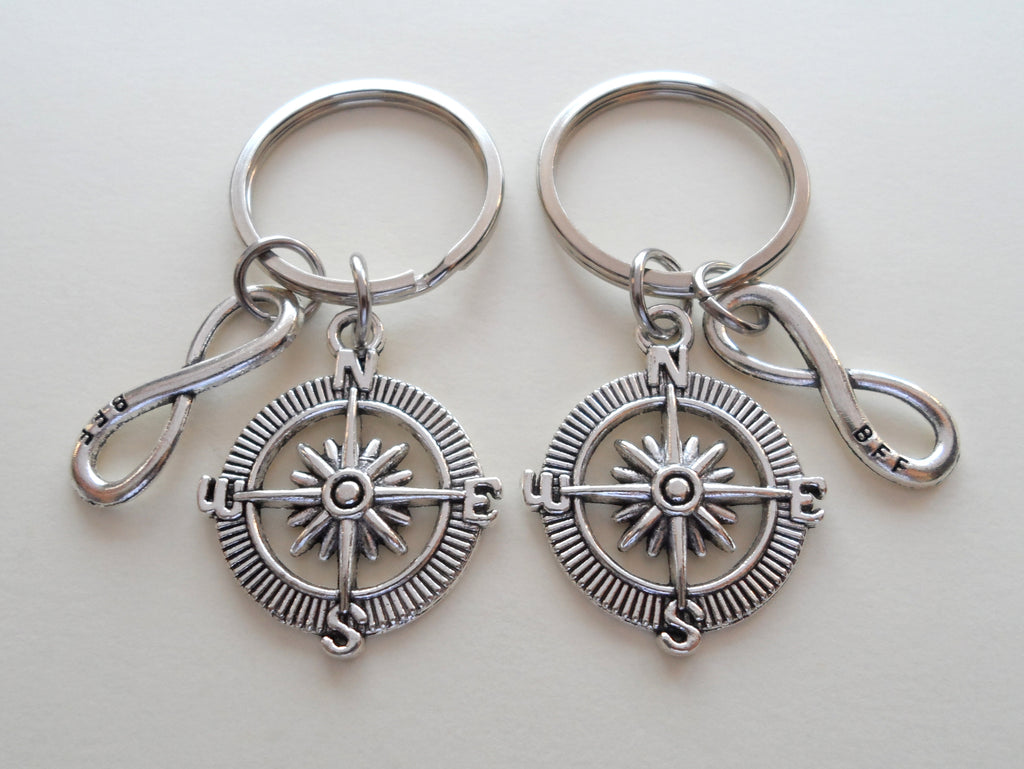 Double Keychain Set, Compass & BFF Infinity Charm Keychains, Best Friend Gift