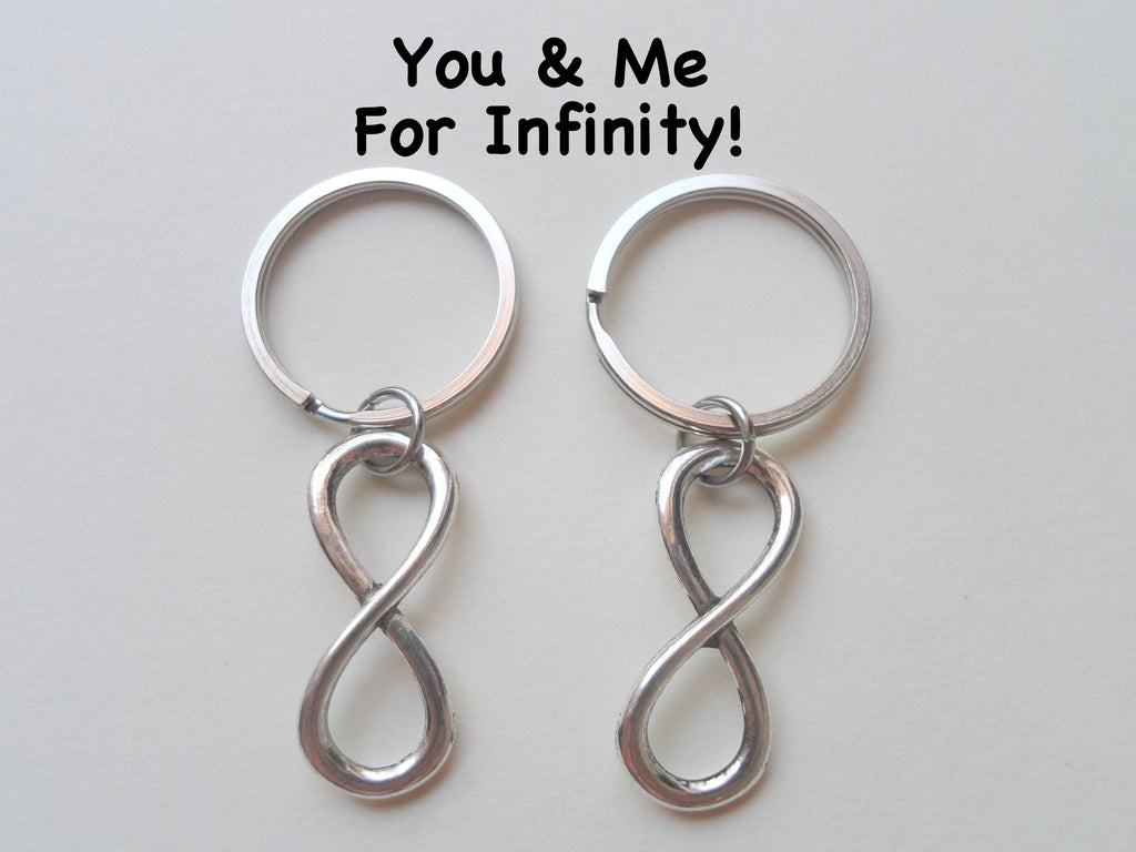 Double Keychain Set Infinity Symbol Keychain - You and Me for Infinity; Couples Keychain Set, Personalized Option