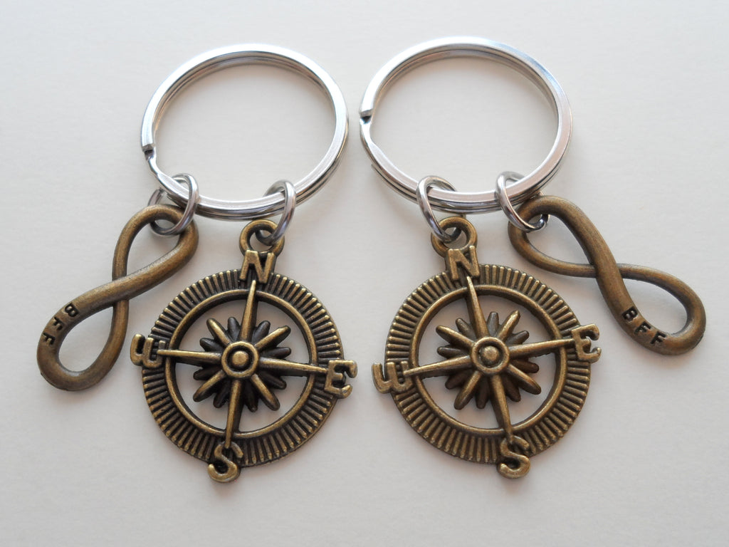 Double Keychain Set, Bronze Compass & BFF Infinity Charm Keychains, Best Friend Gift