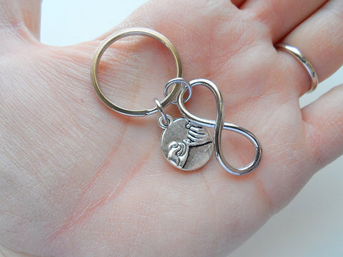Double Pinky Promise Charm and Infinity Charm Keychains; Couple Keychains, Best Friends Keychains