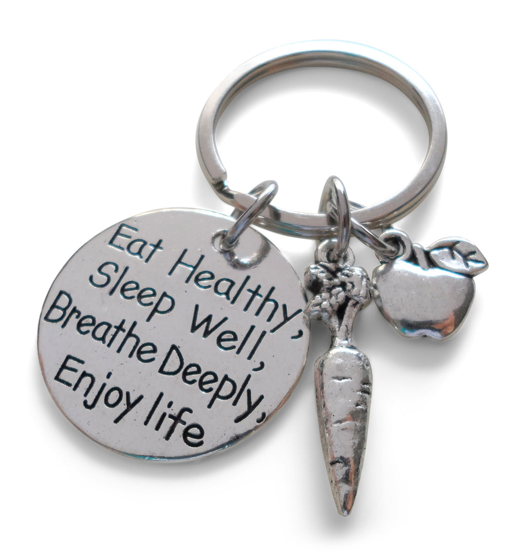 Eat Healthy Keychain with Carrot & Apple Charm, Health Keychain Gift, Nutrition Keychain Gift, Healthy Life Goals