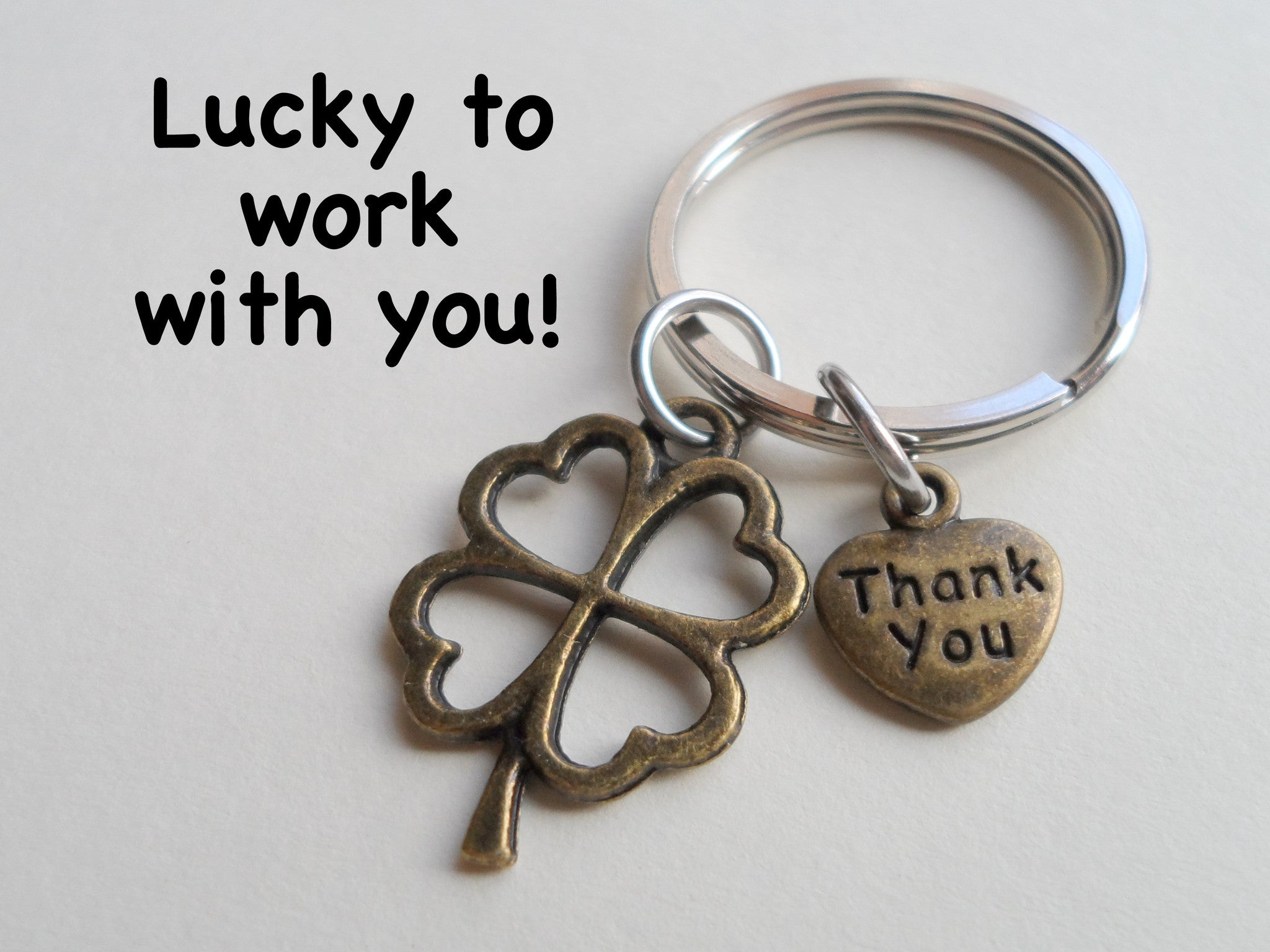 Employee Appreciation Gifts Thank You Bronze Clover Keychain By