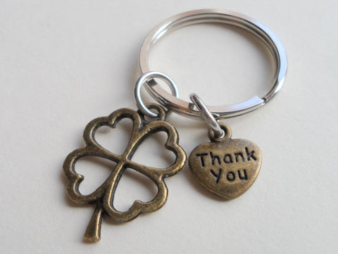 "Employee Appreciation Gifts • ""Thank You"" Tag & Bronze Clover Keychain by JewelryEveryday w/ ""Lucky to work with you!"" Card"