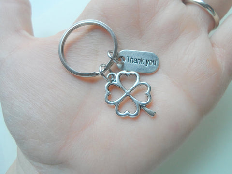 "Employee Appreciation Gifts • ""Thank You"" Tag & Silver Clover Keychain by JewelryEveryday w/ ""Lucky to work with you!"" Card"