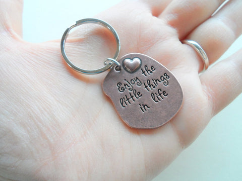 """Enjoy the little things in life"" Keychain, Copper Tone Saying Charm Keychain"