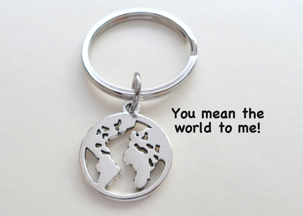 Cutout World Globe Keychain - You Mean The World To Me; Couples Keychain