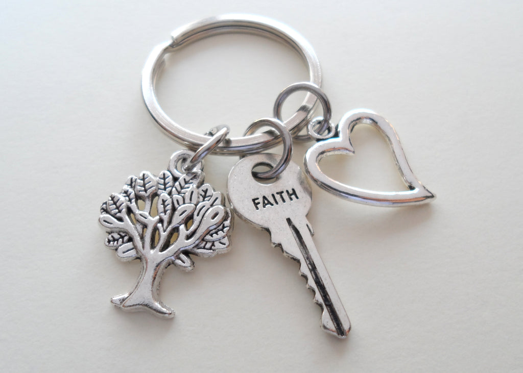 Faith Key, Tree & Heart Keychain, Religious Keychain, Christian Keychain, Belief Keychain