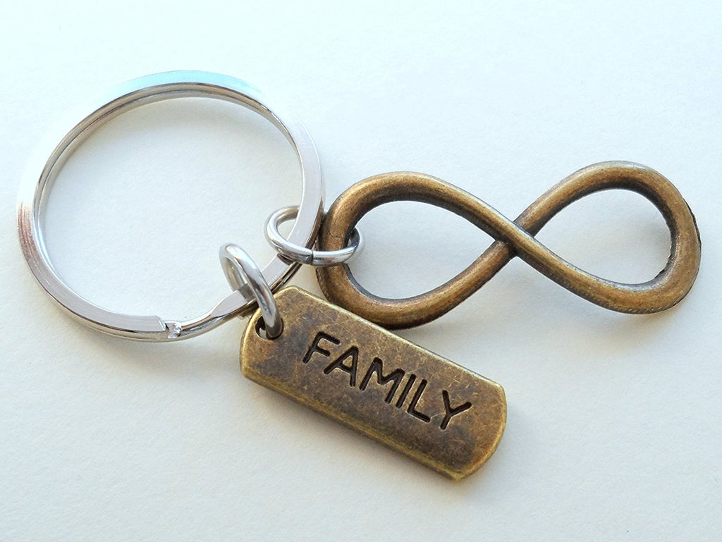 Bronze Family Tag with Infinity Symbol Keychain - For Infinity; Family Keychain