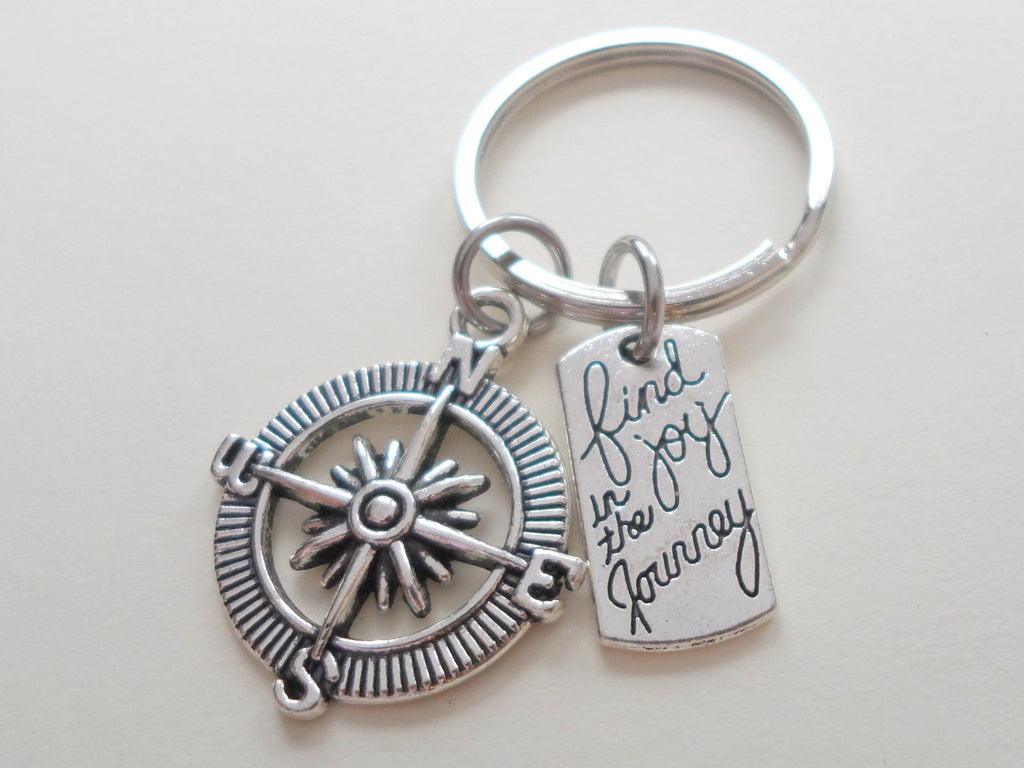 Find Joy in the Journey Open Compass Keychain - Graduation Gift Keychain, Couples Gift Keychain